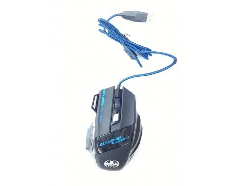 Mouse Gaming Gamer Pro Óptico 6 botones Usb Luces Cable Mallado Reforzado