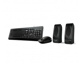 Kit Genius Teclado + Mouse + Parlantes Kms U130 3en1 Pc USB